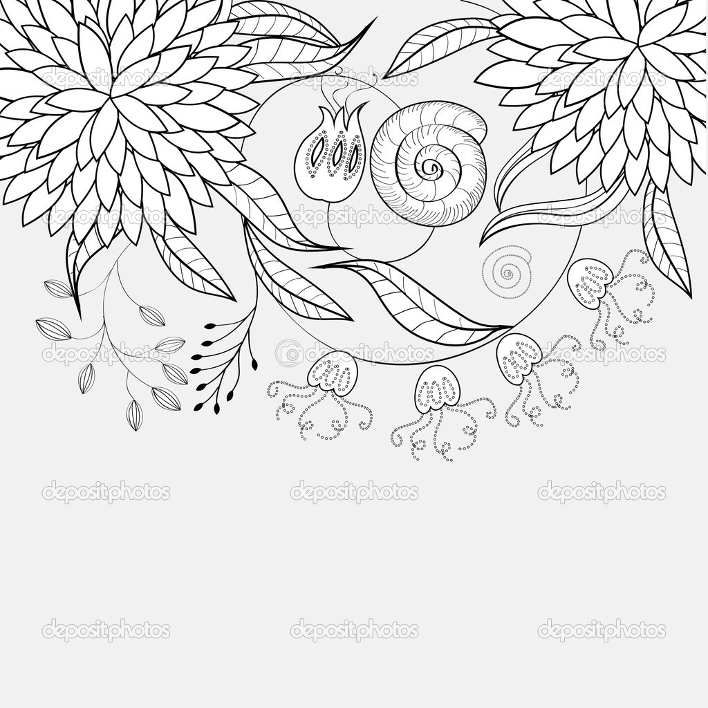 Monochrome floral background  Stock Vector #2435794