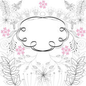 Stylish frame with floral ornament — Stock Vector