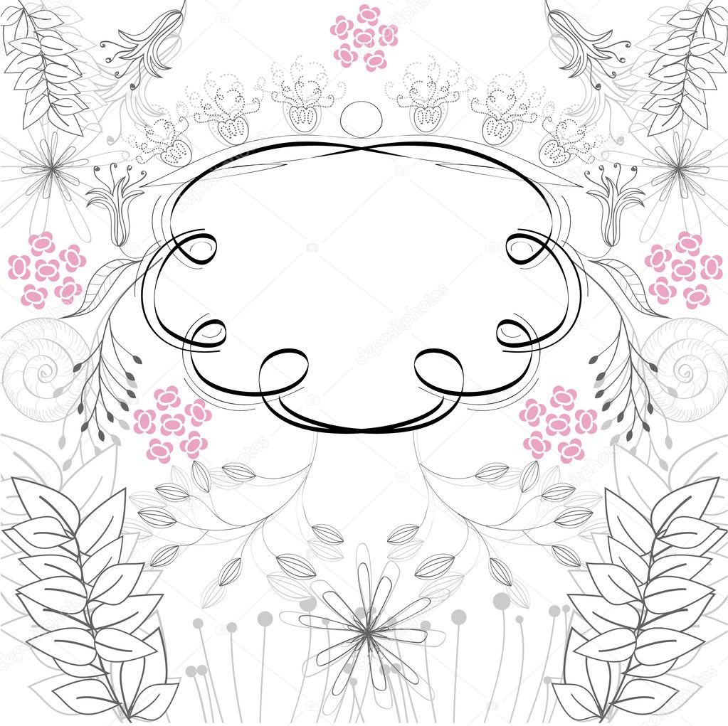 Stylish frame with floral ornament  Stock Vector #2484429