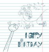 Inscription happy birthday with giraffe — Stock Vector