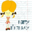 Inscription happy birthday  with girl — Image vectorielle