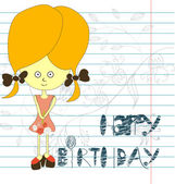 Inscription happy birthday with girl — Stock Vector