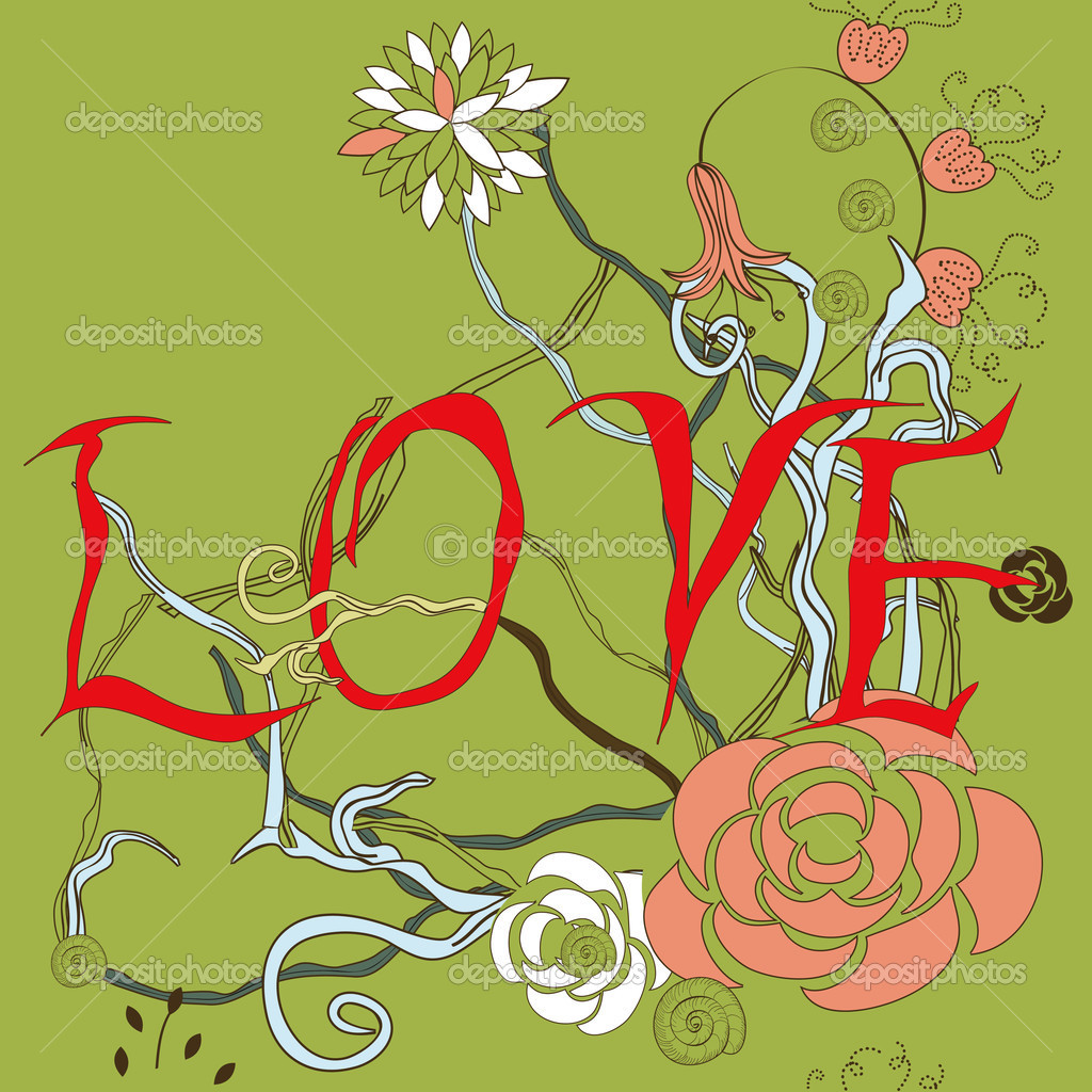 Inscription LOVE with floral element — Stock Vector #2523016