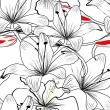 Seamless pattern with white lily flowers — 图库矢量图片