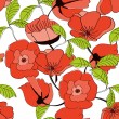 Seamless pattern with red flowers — Stock Vector #2560341