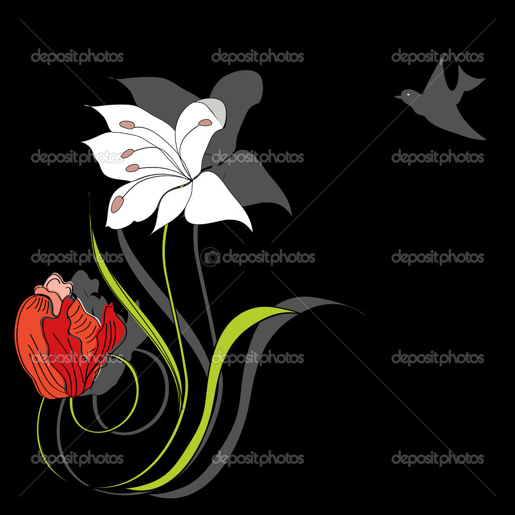 Decorative card with flowers — Stock Vector #2572608