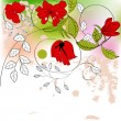 Stock Vector: Red flowers on colorful background