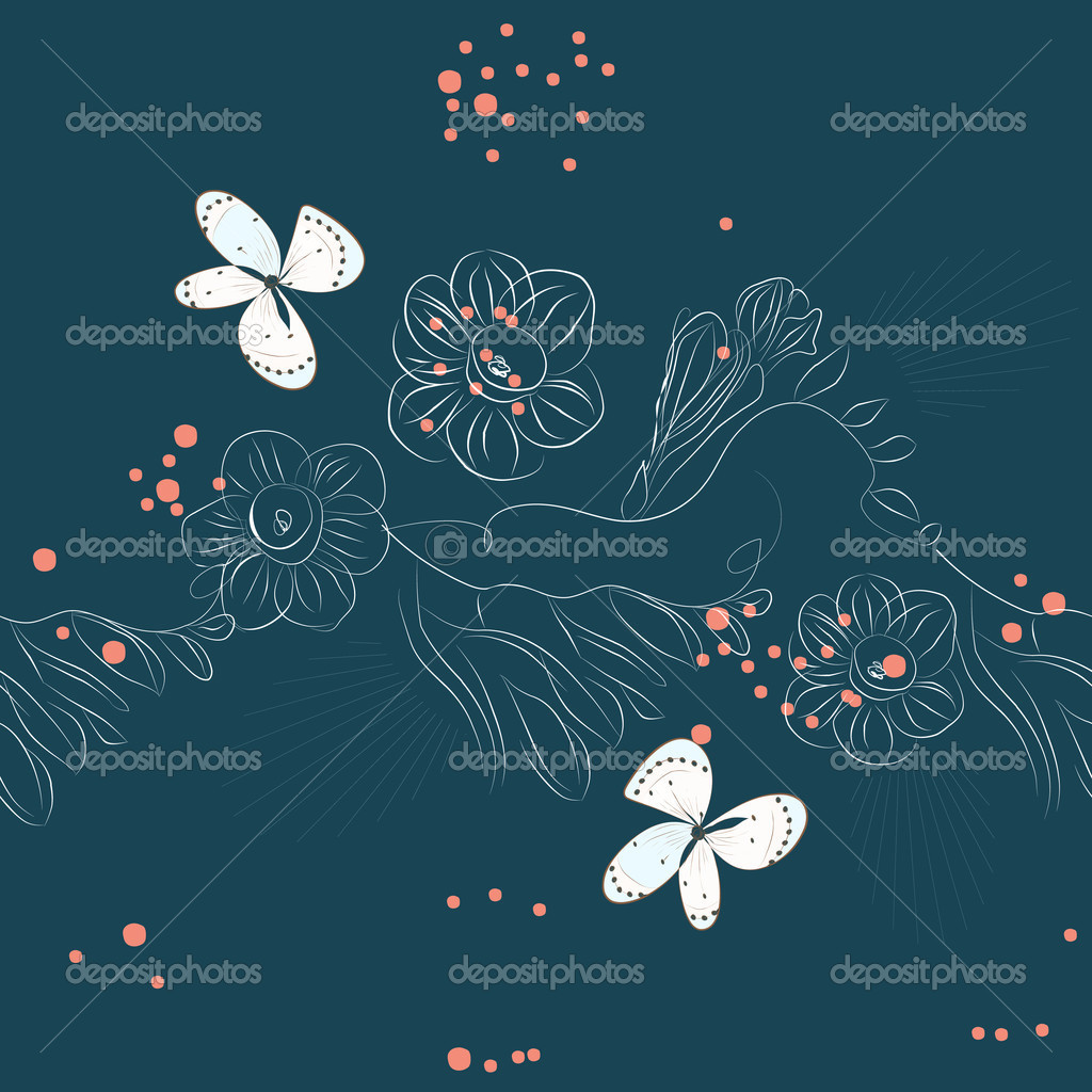 Seamless pattern with flowers on blue background — Stock Vector #2639430