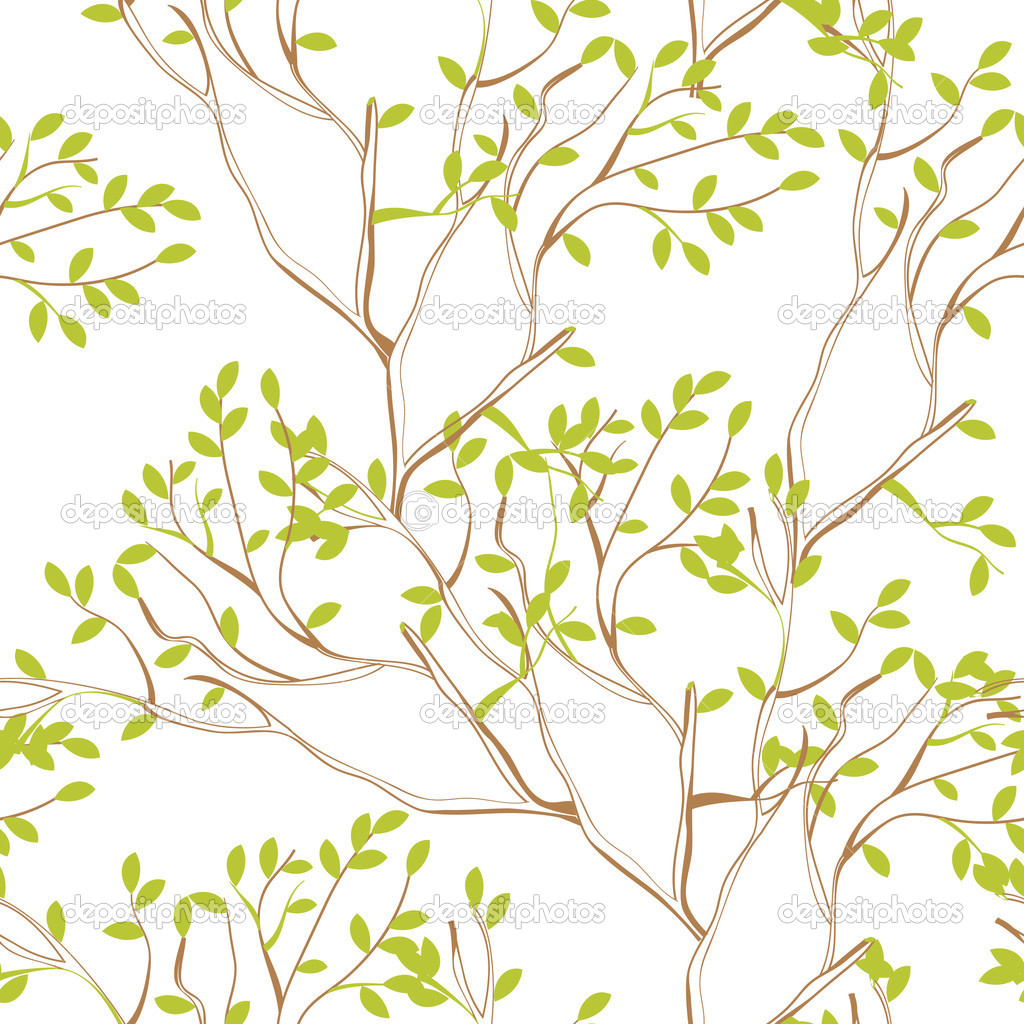 Seamless wallpaper with tree branches and green spring foliage — Stock Vector #2683628