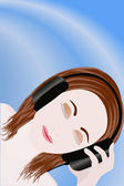 Beautiful girl listens music — Stock Vector