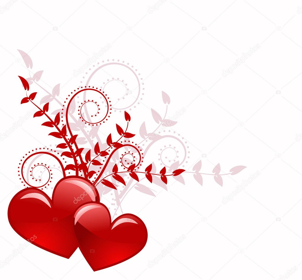 Red heart abstraction in valentine day, romance decoratively pattern — Stock Vector #1936103