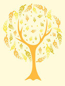 Yellow abstract tree — Stock Vector