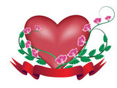 Bannière avec coeur et fleur — Vecteur