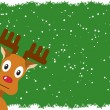 Rudolph with a green background — Stock Vector