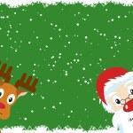 Santa Claus and Rudolph Christmas Card — Stock Vector