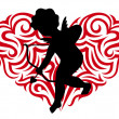 Royalty-Free Stock Vector Image: Silhouette cupid and Stylized heart