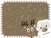 Santa and Rudolph Christmas Card. — Stock Vector