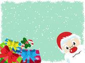 Santa Claus and gift Christmas Card — Stock Vector