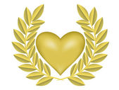 Gold laurel wreath with gold heart — Stock Vector