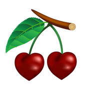 Cherry in the form of heart — Stock Vector