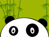 Panda on a green bamboo — Stock Vector