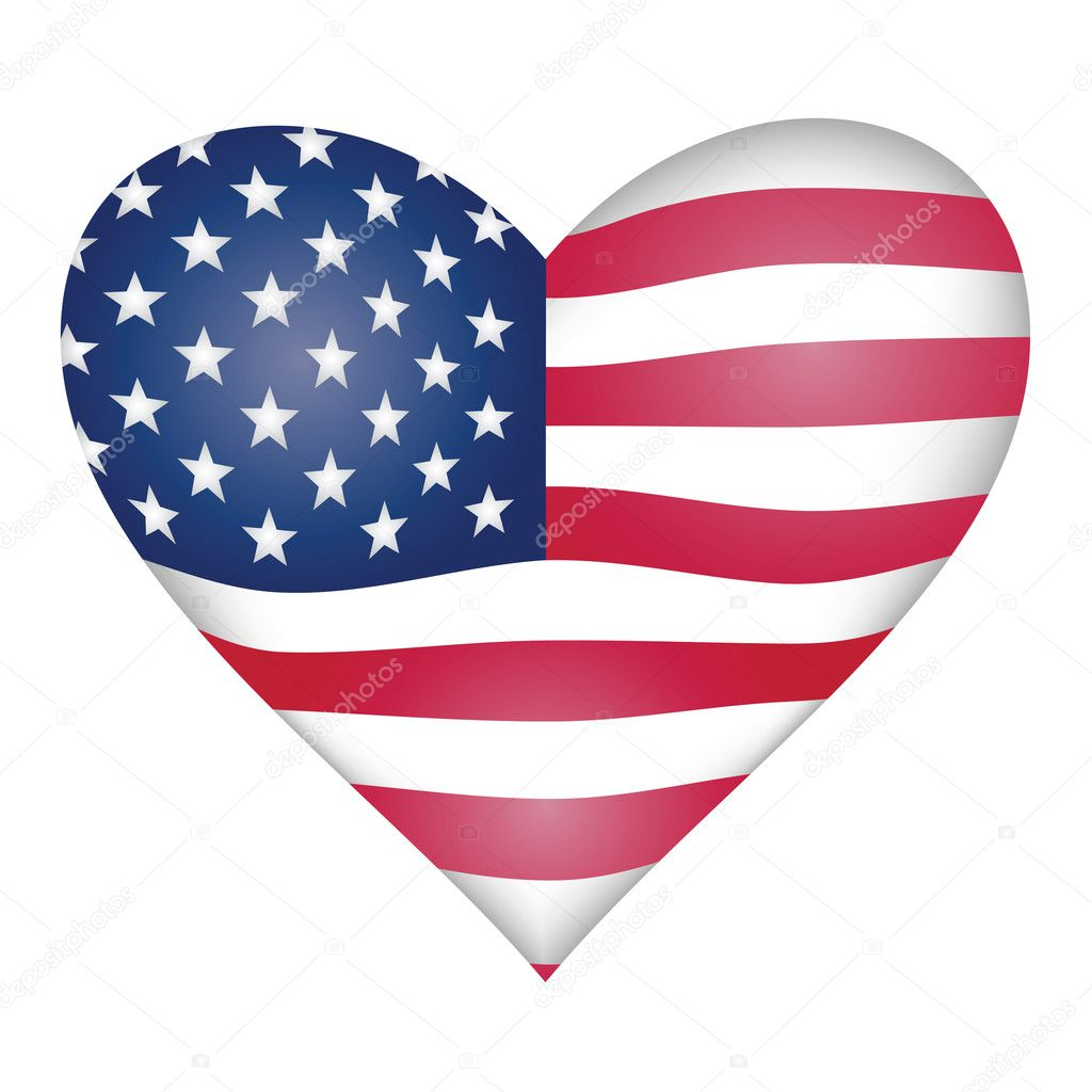 American flag heart  Stock Vector #2480839