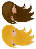 Brunette and blonde girls — Stock Vector