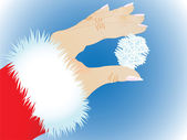 Snowflake in a hand — Vector de stock