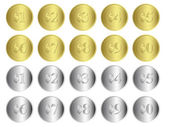 Gold and Silver Coins — Stockvector