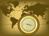 Kaart van de wereld en kompas — Stockvector