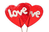 Heart shaped lollipops — Stock Photo