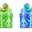 Green and blue gifts — 图库照片
