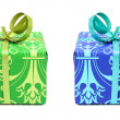 Green and blue gifts — Stock Photo
