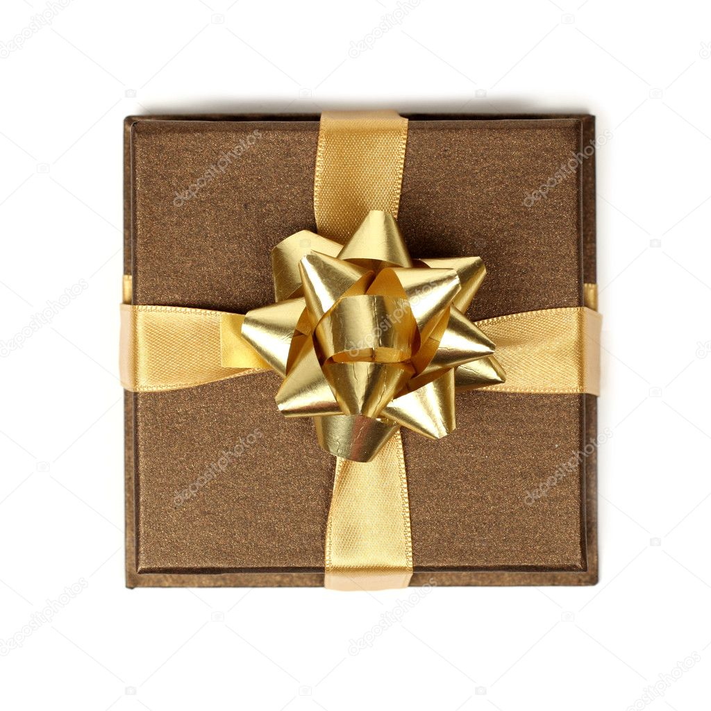 Brown gift with gold ribbonon white background with small areas of shadow  Stock Photo #1667438