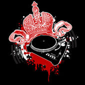 Graffiti Red Crown and Turntable — Stock Vector