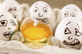 Eggs are scared of dead naber — Stock Photo