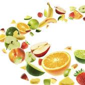 Frutas diferentes no fundo branco — Foto Stock