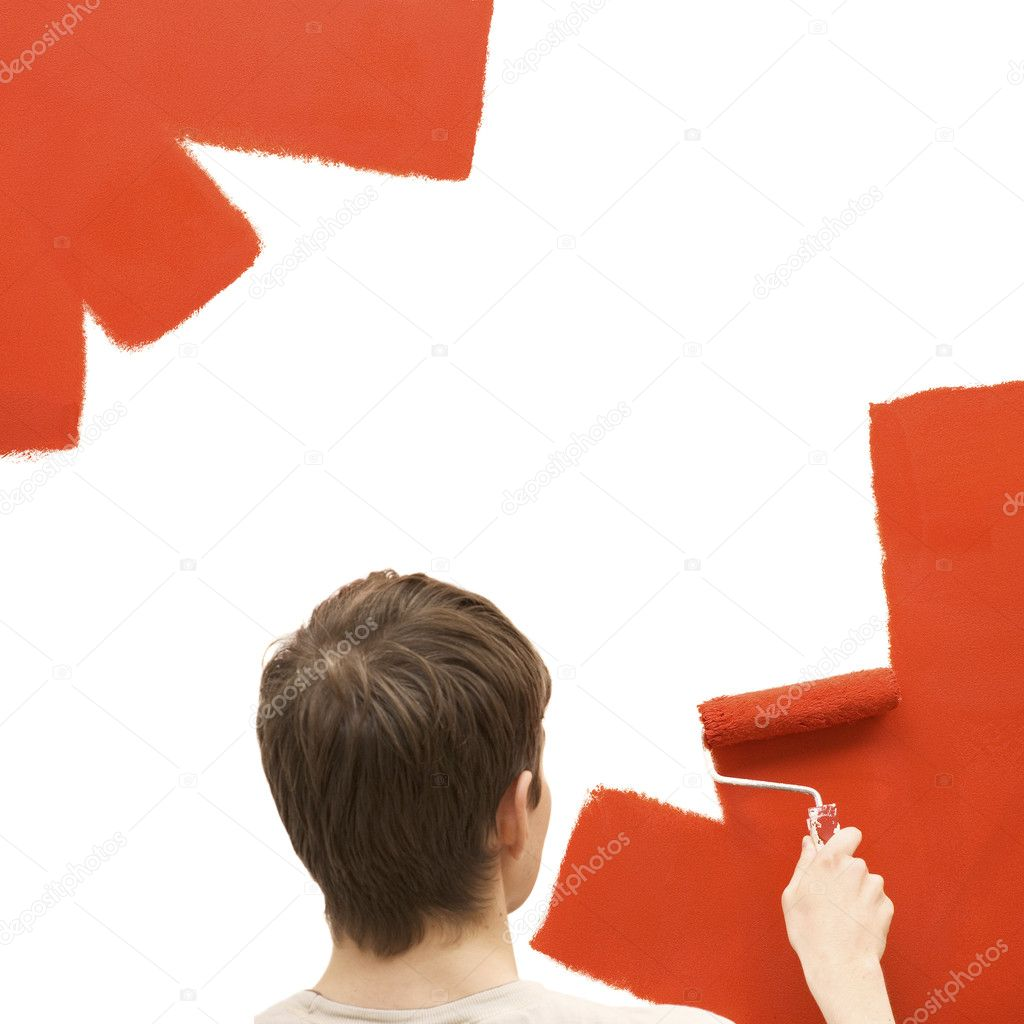 Young man painting the wall — Stock Photo #1764096