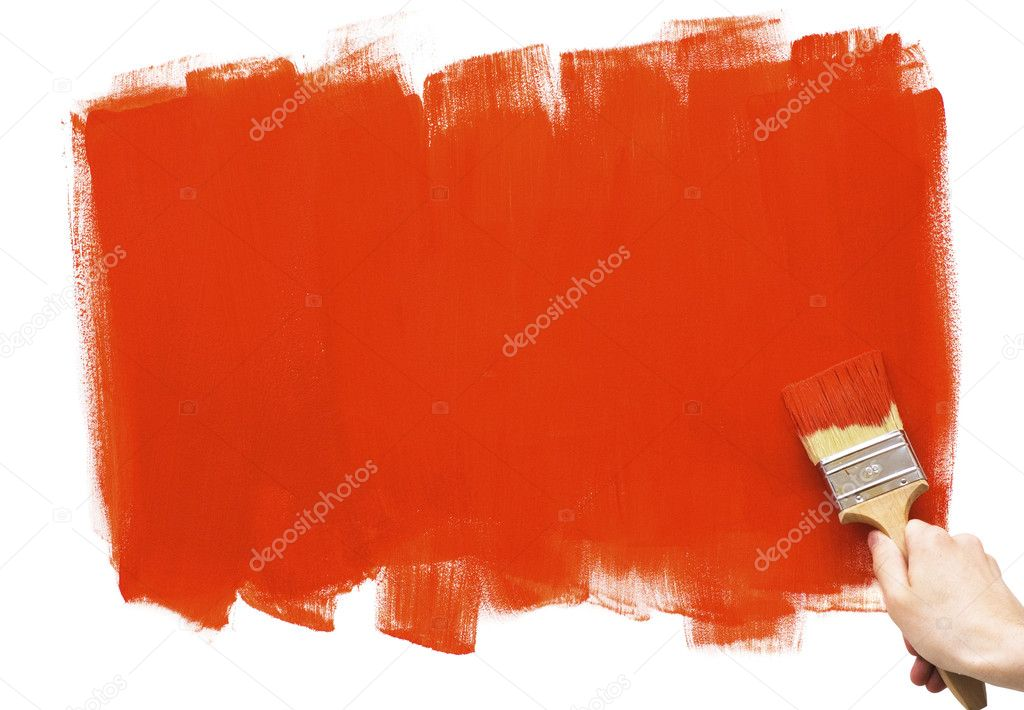 Hand painting with red brush — Stock Photo #1764292