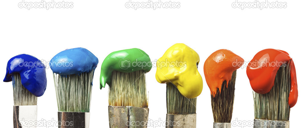Brushes with six different colors — Stock Photo #1764463