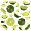 Stock Photo: Sliced lime collection