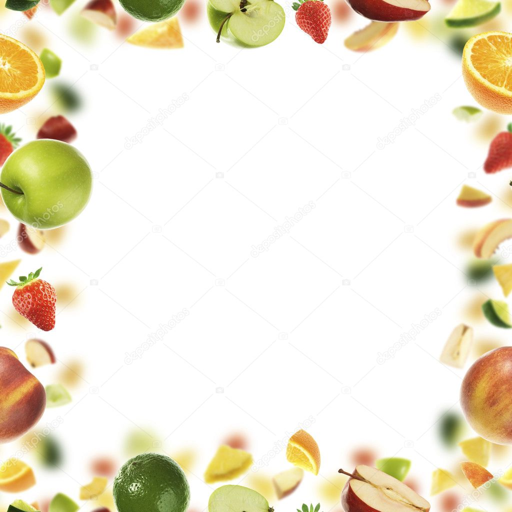 Fruit frame with white copyspace in the middle — Stock Photo #1776558