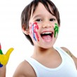 Five year old boy with hands painted i — Stock Photo