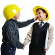 Little cute engineers isolated, kids pla — Stock Photo #1768454