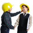 Little cute engineers isolated, kids pla - Stock Photo