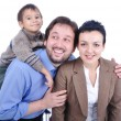 Very beautiful happy family,3 members — Stock Photo