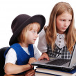 Children activities on laptop put on des — Stock Photo #1769315