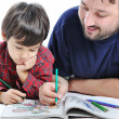 Stockfoto: Father and son painting