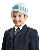 Muslim little cute kid with hat, isolat — Stock Photo