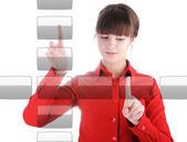 女孩与数字按钮 — 图库照片